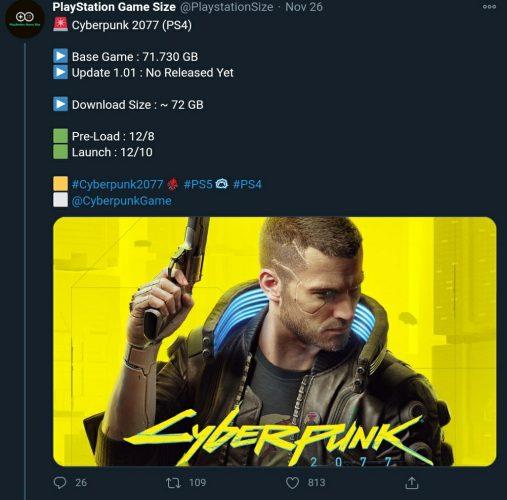 حجم بازی Cyberpunk 2077